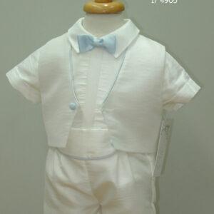 Ivory/Blue boys christening suit 4905-0
