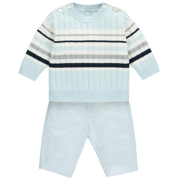 Emile et Rose 2pc knit Top with variegated stripe & Trouser. Pale Blue. Ref: Matt 6406PB/18S