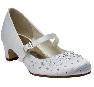 Rainbow Club Cherry White Sparkly Communion Bar Shoes