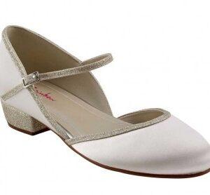 Rainbow Club Dotty Ivory Satin Shimmer Kids Shoes