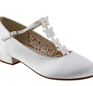 Rainbow Club Lolly. White Satin Butterfly Detail Kids Shoes