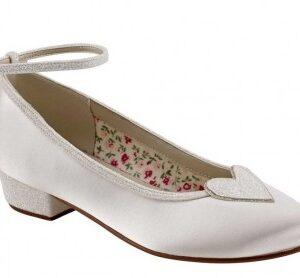 Rainbow Club Minnie. Ivory Shimmer Heart Detail Kids Shoes