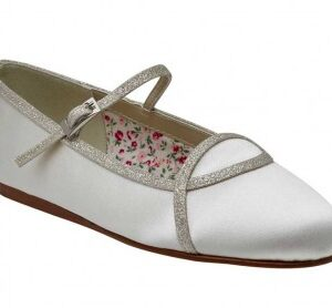 Rainbow Club Orlana. Ivory Silver Shimmer Ballet Kids Shoes