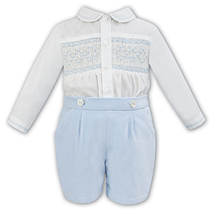 Sarah Louise Twin Set In Ivory & Blue - 011253