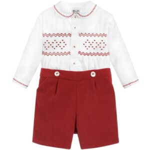 Sarah Louise Twin Set In White & Red - 011253