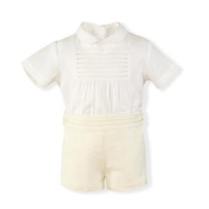 Miranda Beige Shirt & Short Set - 0140-23