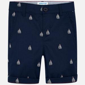Mayoral Navy Blue Patterned Bermuda Chino Shorts - 3227