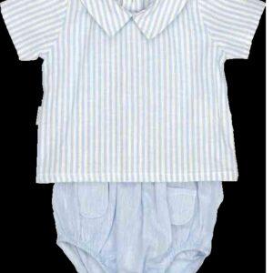 Babidu Pale Blue Striped Top And Knicker Set - 41403