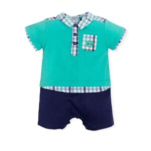 Tutto Piccolo Green/Blue Checkered Babygrow 6293S19-0