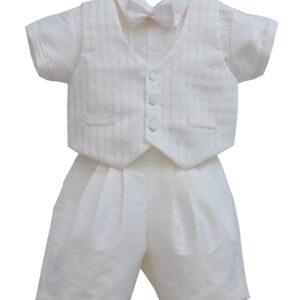 Pretty Originals Cream Shirt Shorts & Wastecoat Set With Bow Tie- DL61898E