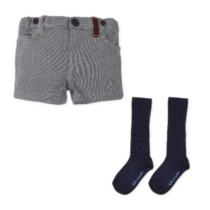 Tutto Piccolo navy blue bermuda short with socks 7318W19