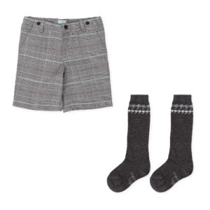 Tutto Piccolo grey bermuda shorts with socks 7340W19