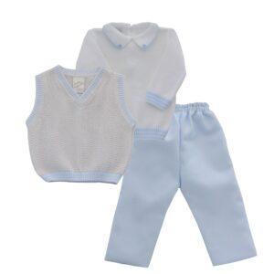 Pretty Originals boys 3 piece set in white, pale blue and grey - JPJ2165E