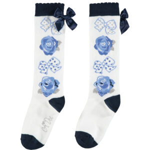 A Dee Bows & Roses Snow White Knee Socks - W204931 Hasana