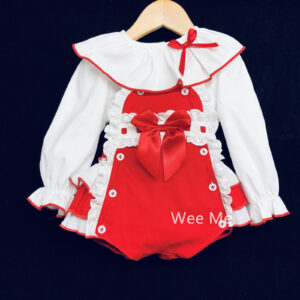 Wee Me red frilly bottom romper and blouse set