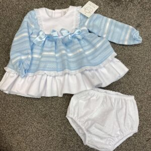 wee me pale blue and white bow dress with matching knickers