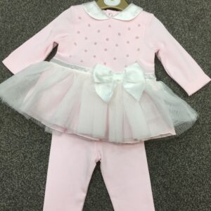 Mintini Baby Legging Set with peals and satin bow