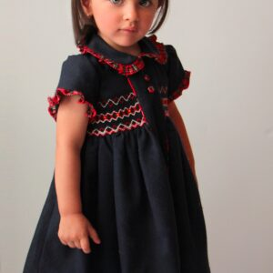 Pretty Originals Dress & Hair Bow Set - MC01255E Navy/Red Check