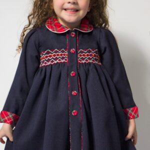Pretty Originals Dress and Bonnet Set - MC01256E Navy/Red Check