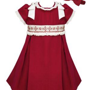 Pretty Originals Dress Dress with Ribbons & Hair Bow - MC01258E Red/Cream
