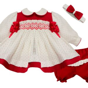 Pretty Originals Dress and Panty Set - MT02078E Red Dots/Red