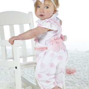 Due in soon - 2 piece flamingo print dungaree set Jacy (Bright White)