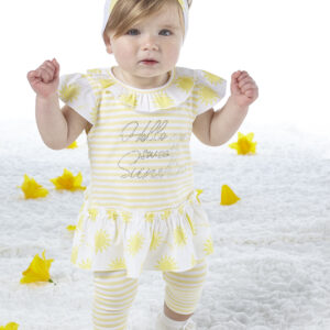 Diamante 'Hello My Sweet Sunshin'e legging set Katriona (Lemon Cake)