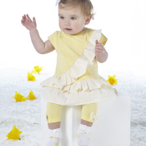 Due in soon - 2 piece jersey legging set features stripe seersucker frills on tunic top and matching bows on leggings