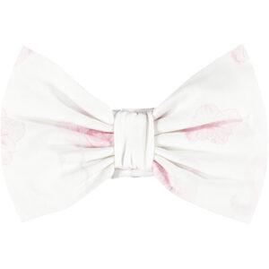 Flamingo print hair bow on jersey hair band (Bright White)